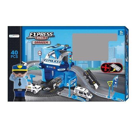 Pista Express Wheels Garagem Polícia 42 Pçs Multikids BR1240