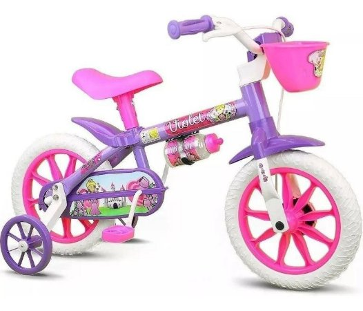 Bicicleta Infantil Com Rodinha Garrafa Aro 12 Violet Nathor