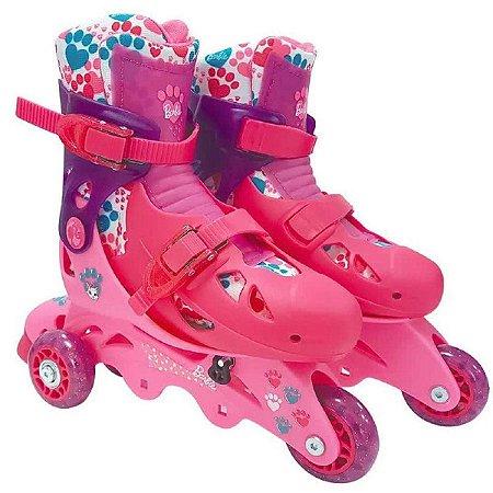 Patins Barbie 3 Rodas Rosa Ajustável 29 ao 32 c/Acessórios