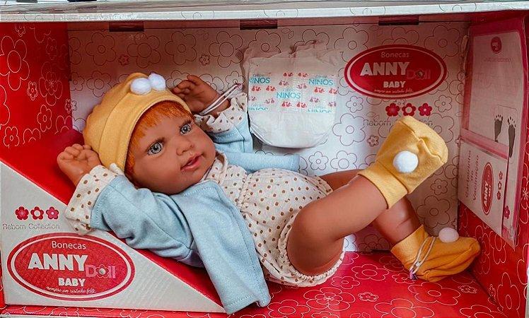 Boneca Menina Reborn Anny Doll Ruiva Corpo em Vinil Cotiplás