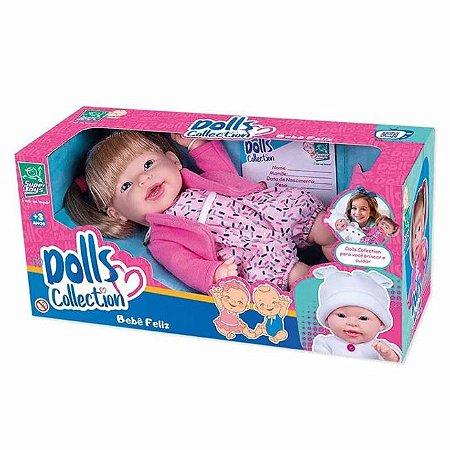 Boneca Vinil Bebê Feliz Dolls Collection Infantil Super Toys