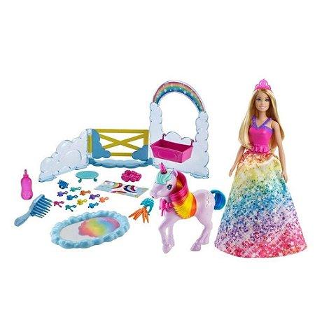 Boneca Barbie Unicórnio Arco Íris Colorido 28Cm Mattel Gtg01