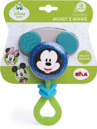 Chocalho Mickey Disney Para Bebê Orelhas Macias - Elka