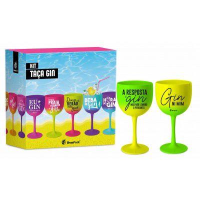 Taça Gin com 2 unidades Colorida Degradê com Frases BrasFoot