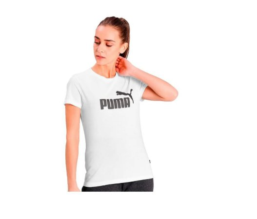 Camiseta Blusa Feminina Puma Ess Logo Tee Branca
