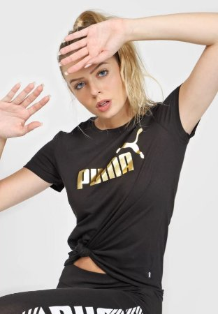 Camiseta Blusa Puma Metallic Logo Tee Preta Feminina
