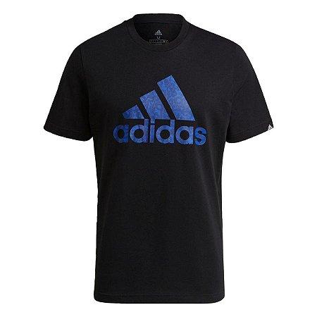 Camiseta Estampada Sereno Logo Adidas - Preto+Azul