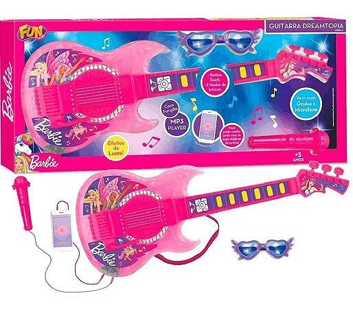 Guitarra Barbie Dreamtopia c/Microfone Funçao Mp3 F00575 Fun