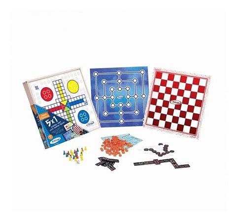 Jogo 5 Em 1, Ludo, Dama, Trilha, Domino, Loto, Xalingo 65598