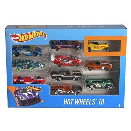 Hot Wheels Pacote De 10 Carros - Sortidos Mattel