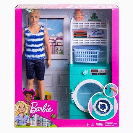 Barbie Cômodo Com Ken Loiro Lavanderia Mattel - FYK51/52