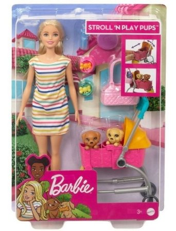 Boneca Barbie Family Carrinho De Cachorrinho Mattel