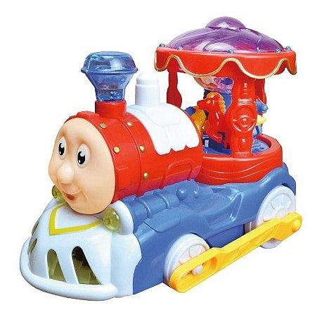 Trenzinho Carrossel Bate Volta Com Som E Luz Dm Toys Dmt5107