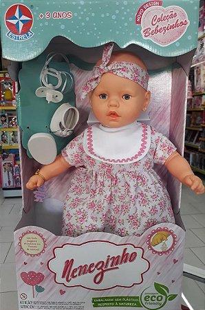 Boneca Nenezinho  Vestido Rosa floral  44 Cm -estrela