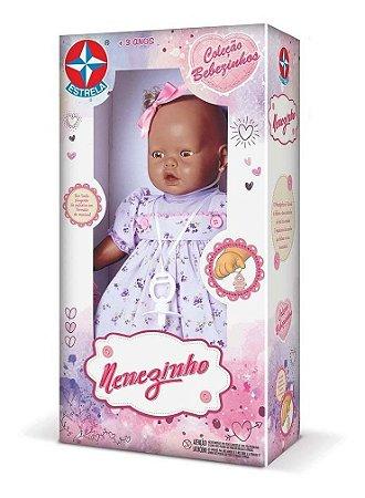 Boneca Bebezinho Negro Vestido Lilas 44 Cm-estrela