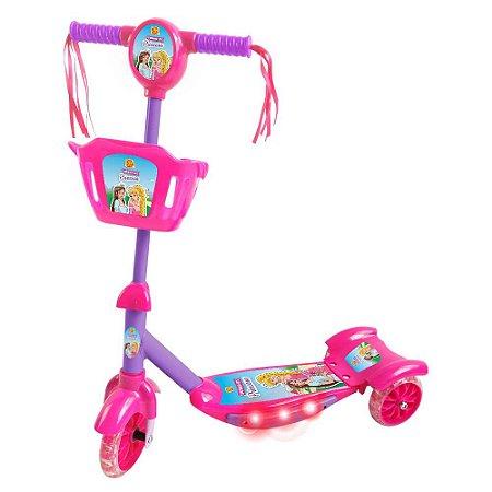 Patinete 3 rodas Sonho de Princesa c/Cesta DMR5621 Dm Toys
