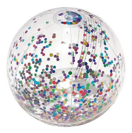 Bola Boia Transparente Inflável c/ Glitter Colorido 1955 Mor