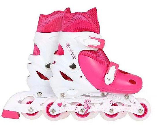 Patins Roller Infantil Rosa Regulável Tam M 34-37 9175 Mor