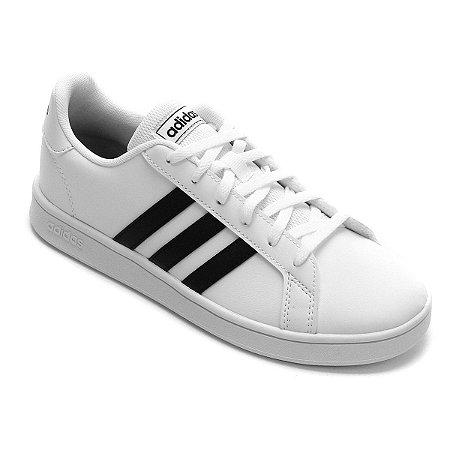 Tênis Infantil 31-36 Grand Court Branco e Preto Adidas Unissex