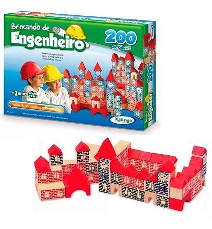Blocos De Montar Madeira Castelinho Antigo Com 200 Peças