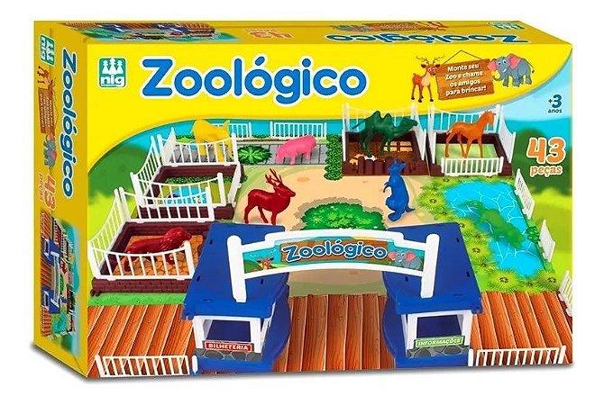Mini Zoológico 43 Peças Tabuleiro Zoo Animais 0234 Nig