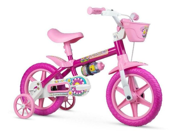Bicicleta Infantil Flower Aro 12 Com Cestinha Nathor