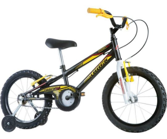 Bicicleta Aro 16 Menino Raiada Preta/amarel Track
