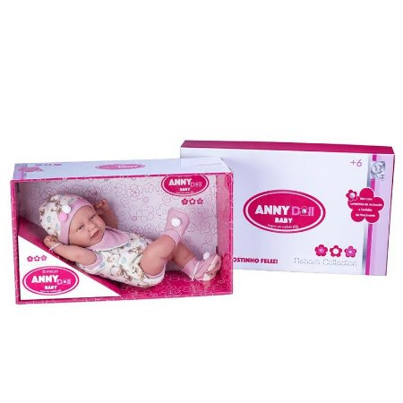 Boneca Bebê Anny Doll Baby Menina com Macacão 2442 Cotiplás