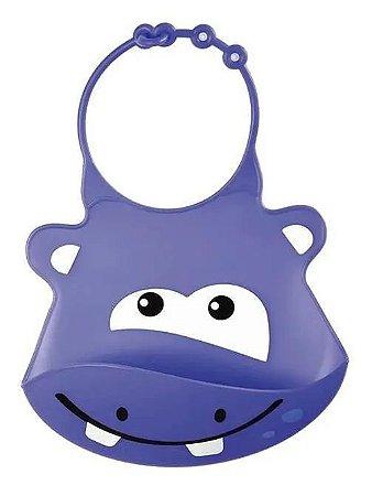 Babador De Silicone Roxo Hipopótamo Com Aba Bb042 Multikids