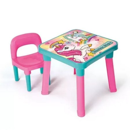 Mesinha Com Cadeira Infantil Unicórnio