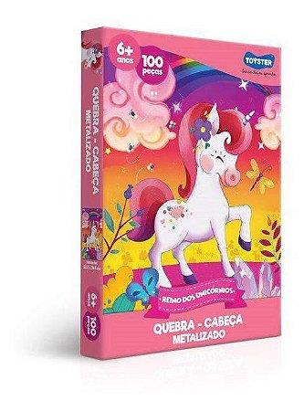 Quebra-cabeça Metalizado 100pçs Reino Dos Unicórnios Toyster