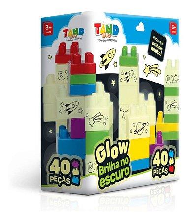Blocos De Montar Brilha No Escuro 40 Peças Tand Kids Glow