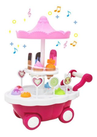 Carrocinha De Sorvete Bate E Volta C/ Som E Luz 5925 Dm Toys