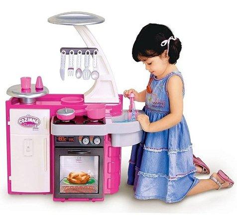 Cozinha Infantil Classic Completa Menina Rosa 1601 Cotiplás