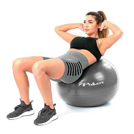 Bola de Pilates Suiça Gym Ball c/ Bomba 75cm Cinza Poker