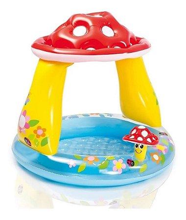 Banheira Piscina Infantil Cogumelo 45l C/ Cobertura Intex
