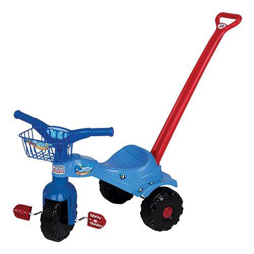 Triciclo Infantil Tico-tico Tubarão Com Alça 2131 Magic Toys