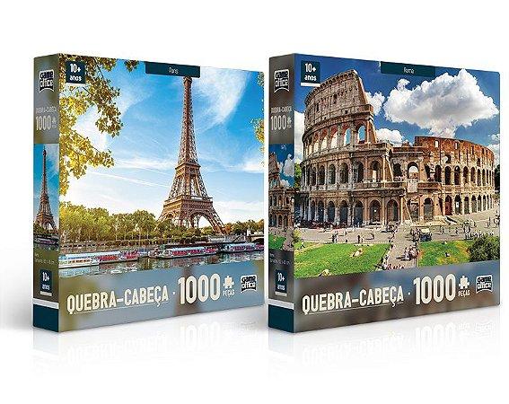Quebra-Cabeça SORTIDO Paris ou Roma 1000 Peças Game Office