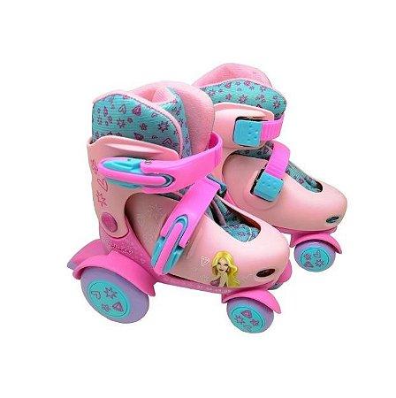 Patins Infantil Meninas Roller Tam Ajustavel 27-30 Dm Toys