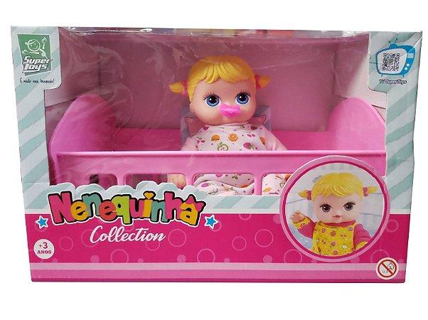 Boneca Bebê No Berço Nenequinha Collection 376 Super Toys
