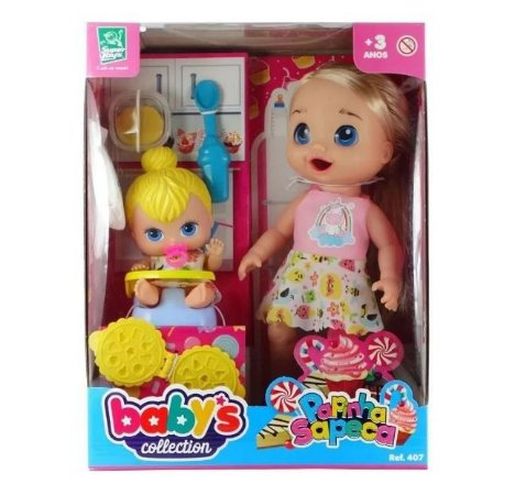 Boneca Papinha Sapeca Babys Collection 407 Super Toys