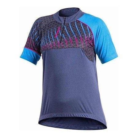 Camisa Ciclista Delta Feminina Azul c/ Rosa Poker