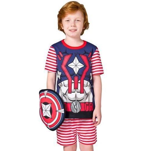 Conjunto Pijama Tam.12 Infantil Manga Curta e Escudo Herói