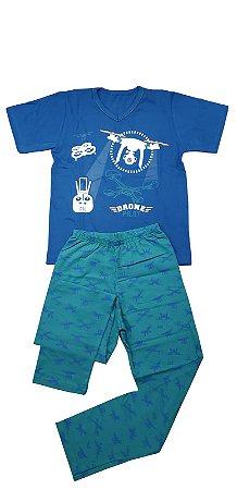 Conjunto Pijama Infantil Meninos Drone Cara de Criança