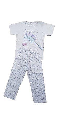 Conjunto Pijama Infantil Meninas Unicórnio Cara de Sono