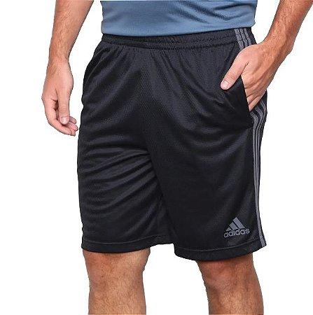 Short Tam M Masculino 3 Listras Preto c/ Cinza Adidas