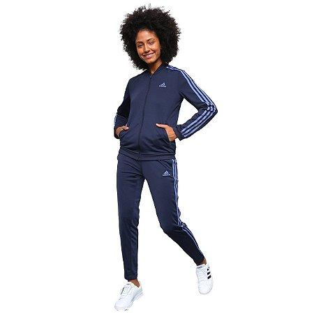 Conjunto Agasalho Adidas 3 Listras Feminino Azul-Marinho