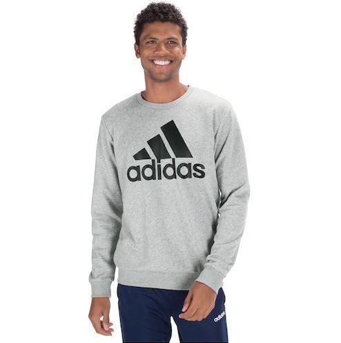 Moletom Big Logo Masculino Sem Capuz Cinza+Preto Adidas