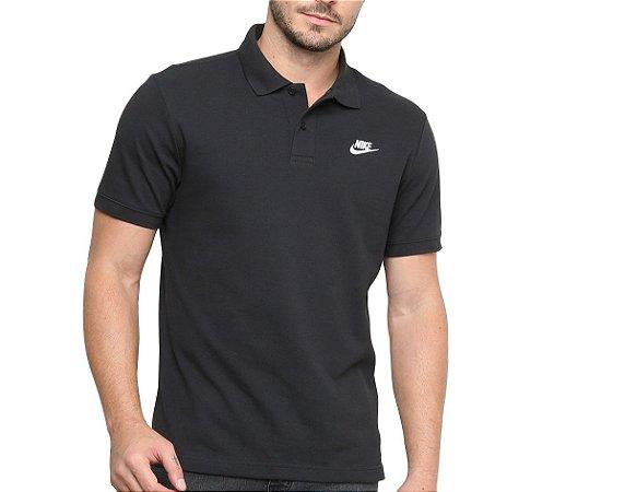 Camisa Polo Sportswear Masculina Preto+Branco Nike