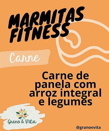 Carne de panela com arroz integral e legumes - Marmita Fitness Grano & Vita